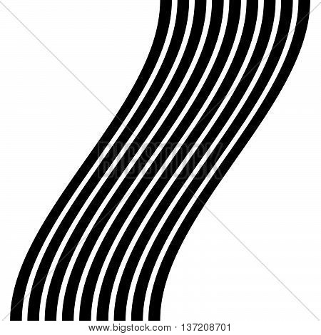 Lines With Distortion Effect Isolated On White Background. Geometric Lines With Deformation. Abstrac