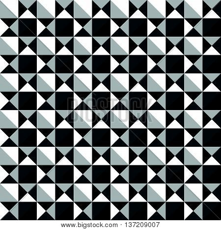 Seamlessly Repeatable Black And White Mosaic Pattern. Tessellation, Geometric Grayscale Background