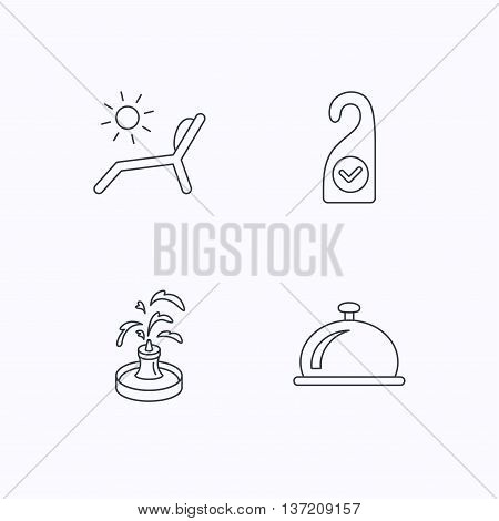 Reception bell, fountain and beach deck chair icons. Clean room linear sign. Flat linear icons on white background. Vector