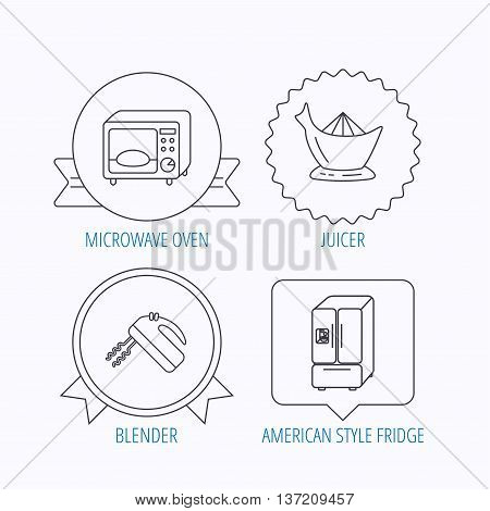 Microwave oven, American style fridge and blender icons. Juicer linear sign. Award medal, star label and speech bubble designs. Vector