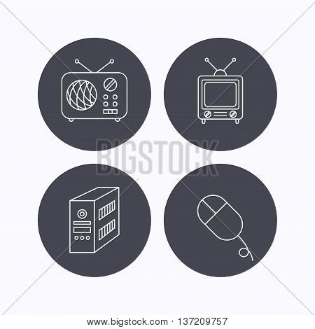 Radio, retro TV and PC mouse icons. PC case linear sign. Flat icons in circle buttons on white background. Vector