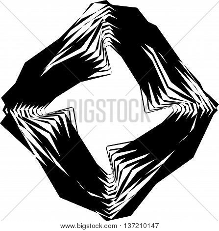 Abstract Circular Element. Monochrome Geometric Illustration In Irregular, Asymmetric Fashion.