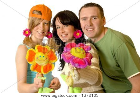 Happy Familly With Flowers