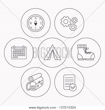 Compass, camping tent and hiking boots icons. Backpack linear sign. Check file, calendar and cogwheel icons. Vector