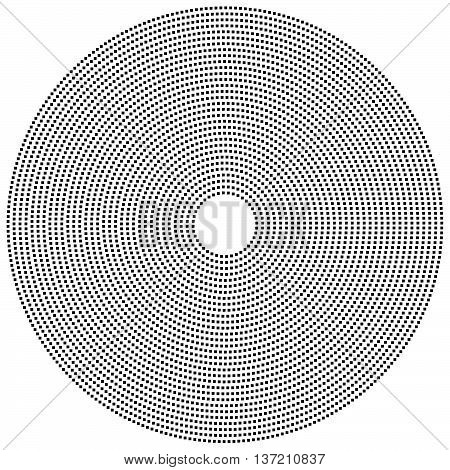 Dotted Circular Element. Mononochrome Black And White Illustration On White.