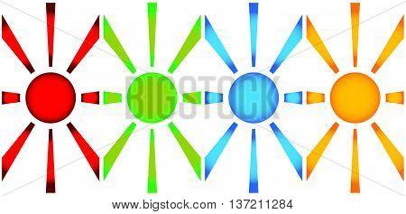 Simple Vertical Banners With Sun Symbol. Monochrome Sunburst, Starburst Elements.