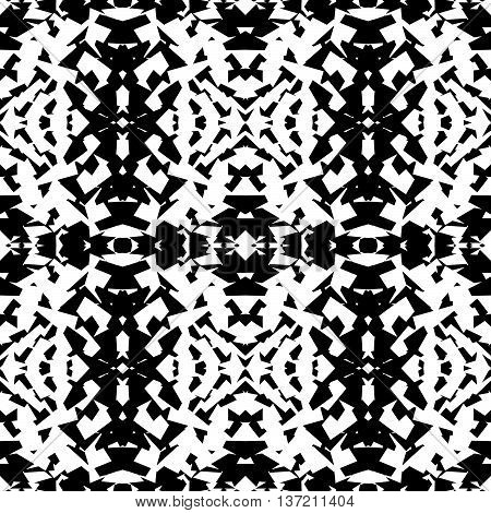 Mirrored Geometric Pattern. Repeatable Monochrome Abstract Background.