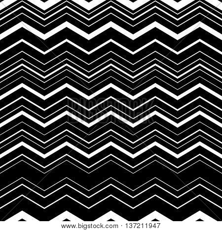 Wavy, Zig-zag Horizontal Parallel Lines. Abstract Monochrome Seamlessly Repeatable Pattern