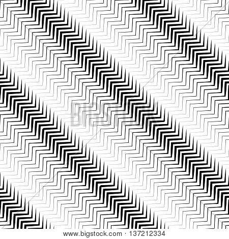 Wavy Diagonal Parallel Lines. Seamless, Repeatable Monochrome Pattern.