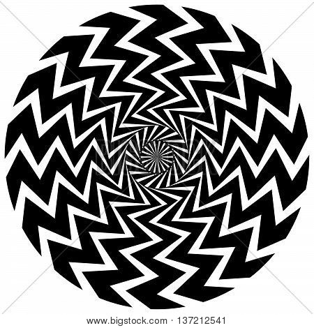 Abstract Circular Element. Rotating Radial Lines With Wavy Effect. Geometric Monochrome Circle. Abst