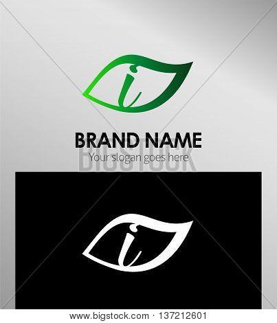 Leaf icon Logo Design Concepts. Letter I