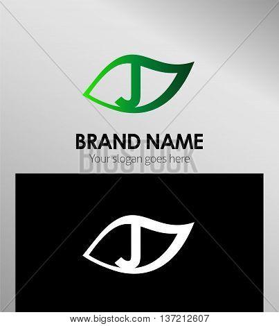 Leaf icon Logo Design Concepts. Letter J