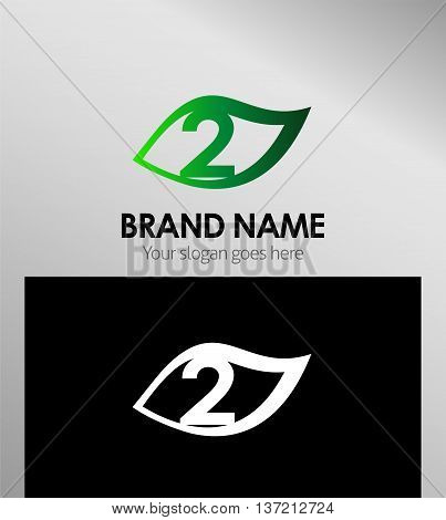 Vector sign number two logo template design vector