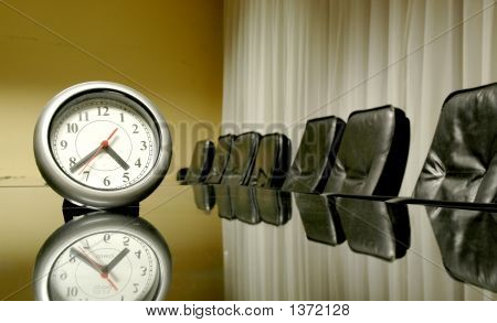 Clock In The Empty Conference Room