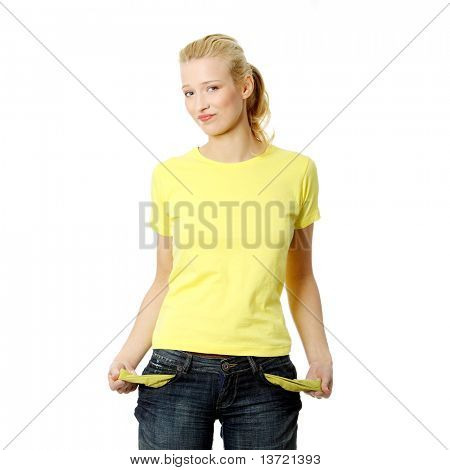 Young woman showing empty pockets, isolated on white