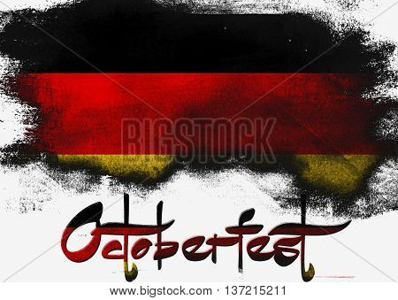 Germany Octoberfest painted with brush on solid background, 3D rendering