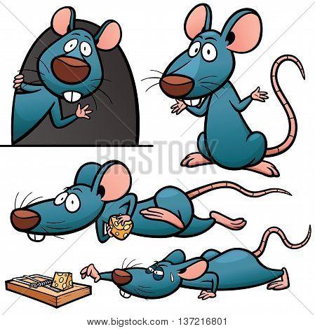 Vector illustration of Cartoon Rat Character Set