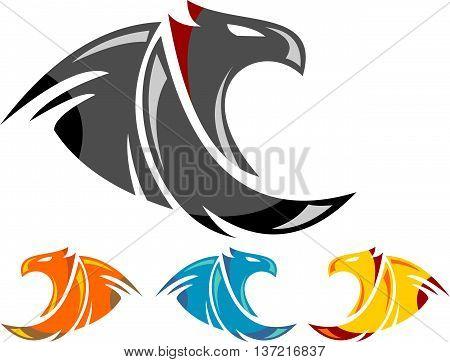 stock logo eagle falcon bird icon element vector