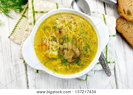 Soup With Champignons And Noodles In Bowl On Board Top