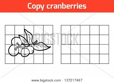 Copy The Picture. Fruits And Vegetables, Cranberries