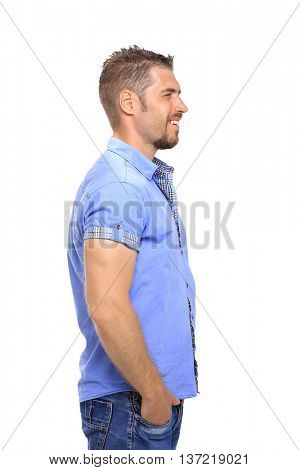 Portrait of casual  man looking away and smile