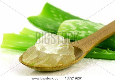 Aloe Vera Gel In Wooden Spoon.