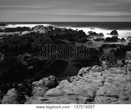 Black and White Soft focus slow shutter speed Asilomar State Marine Reserve California