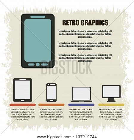 Retro concept represented by infographics with gadgets icons over grunge Background. Colorfull and flat illustration