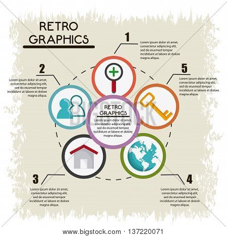 Retro concept represented by infographics icon over grunge Background. Colorfull and flat illustration
