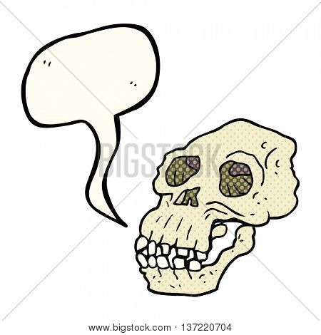 freehand drawn comic book speech bubble cartoon ancient skull