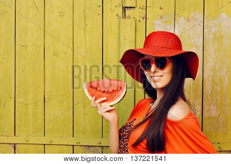 Girl with Sunglasses and  Red Hat with Watermelon Slice