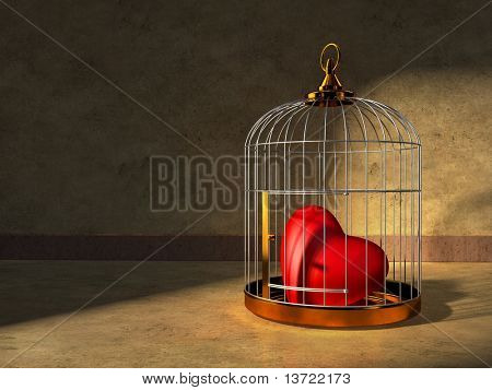 A red heart kept closed in a shiny metal cage. Digital illustration.