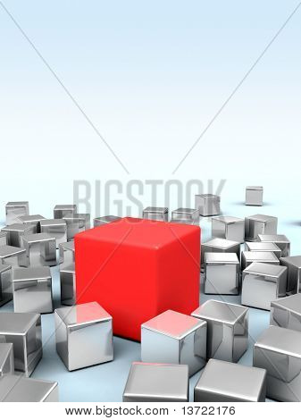 One big red cube stands in the middle of many smaller metallic cubes. Digital illustration.