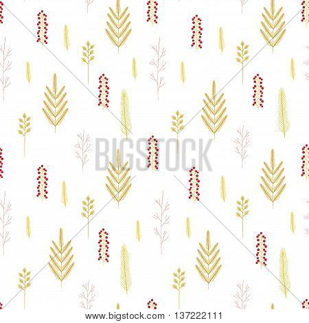 Vector Seamless Gold Floral Pattern. Botanical Background With A Tree Branch, Fir, Twig And Berries.
