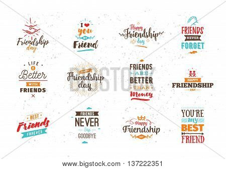 Happy Friendship day vector typographic colorful design. Inspirational quotes about friendship. Usable as greeting cards, posters, clothing, t-shirt for your friends.
