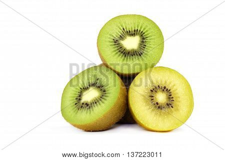 Yellow kiwi and green kiwi fruit isolated on white background