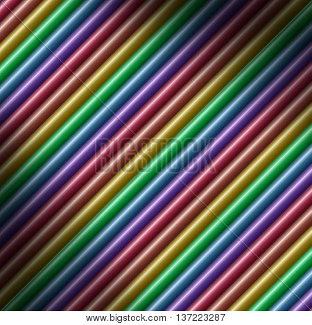 Diagonal multicolored tube background texture lit diagonally