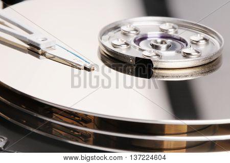 Taken apart computer hard disk drive (HDD) background