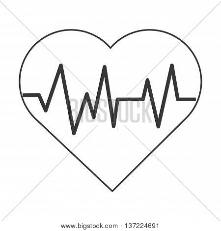 simple flat design heart with cardiogram icon vector illustration