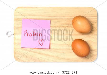 Eggs for protein paper tag on wooden tray