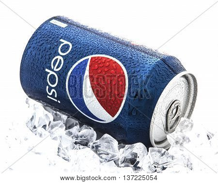SWINDON UK - JANUARY 25 2014: Can of Pepsi cola on a bed of ice and white background Pepsi is a carbonated soft drink produced PepsiCo. Created in 1893