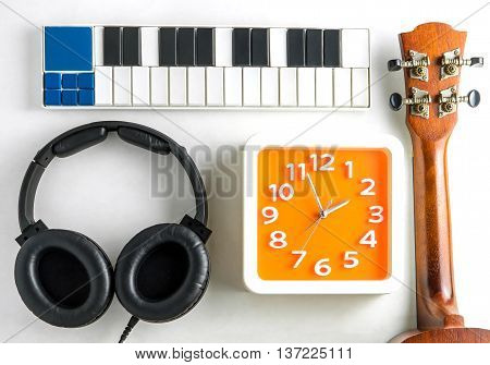 Music equipment for music production with clock time.