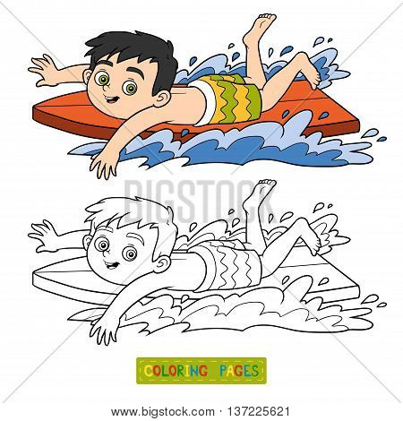 Coloring Book. A Boy Riding A Surf