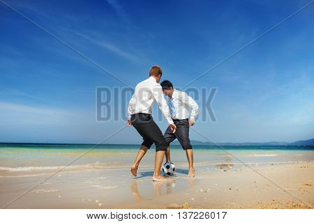 Beach Football Chasing Businessman Game Ball Concept