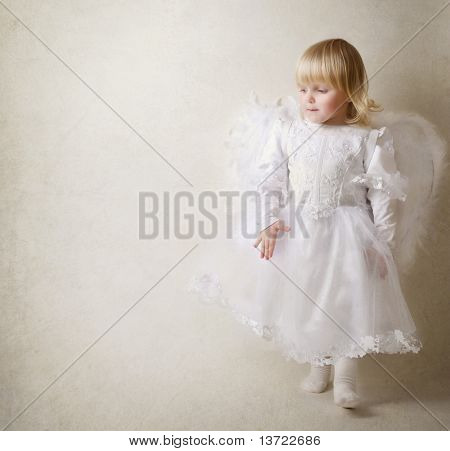 Baby girl in an angel dress