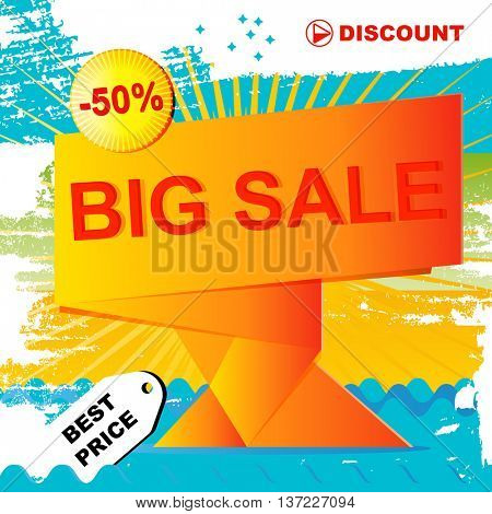 Vector poster sale design. Template background whit colors offer  banner print. Promotion discount illustration with place for text.