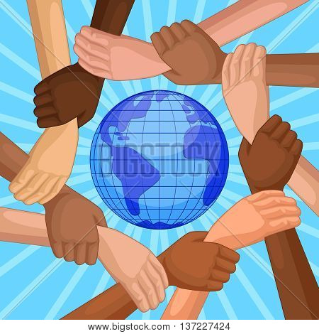 People of different races holding hands around the planet Earth. top view of hands of different skin colors. Concept international Happy Friendship day. Vector illustration