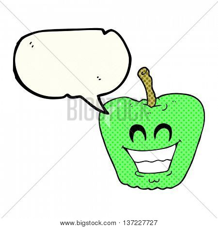 freehand drawn comic book speech bubble cartoon grinning apple