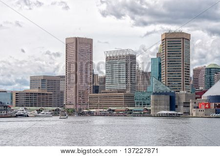 Baltimore maryland Harbor View panorama cityscape landscape from the sea