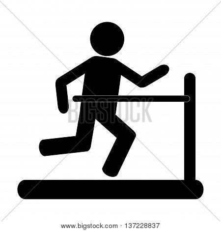 simple flat design person running on treadmill pictogram icon vector illustration